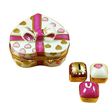 "Load image into Gallery viewer, Rochard ""Pink Heart with Three Chocolates"" Limoges Box"
