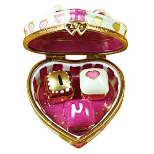 "Rochard ""Pink Heart with Three Chocolates"" Limoges Box"