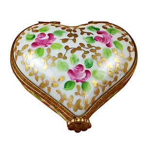 "Rochard ""Heart - Tapestry Rose"" Limoges Box"