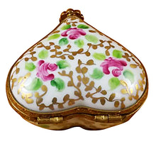"Load image into Gallery viewer, Rochard ""Heart - Tapestry Rose"" Limoges Box"
