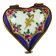 "Load image into Gallery viewer, Rochard ""Blue Heart with Flowers"" Limoges Box"