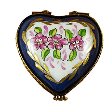 "Load image into Gallery viewer, Rochard ""Blue Heart Roses on Blue Base"" Limoges Box"
