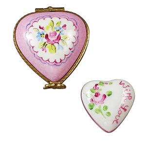 "Rochard ""Small Pink Heart with Heart"" Limoges Box"