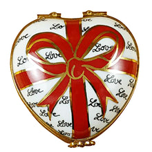 "Load image into Gallery viewer, Rochard ""Heart with Red Bow & Three Candies"" Limoges Box"