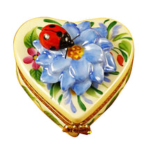 "Load image into Gallery viewer, Rochard ""Heart Blue Flowers with Ladybug"" Limoges Box"