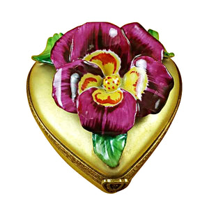 "Rochard ""Pansy on Gold Heart"" Limoges Box"