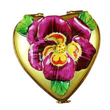 "Load image into Gallery viewer, Rochard ""Pansy on Gold Heart"" Limoges Box"