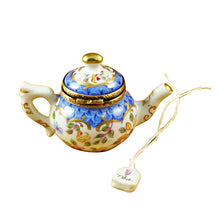 "Load image into Gallery viewer, Rochard ""Teapot Blue Scales with Tea Bag"" Limoges Box"