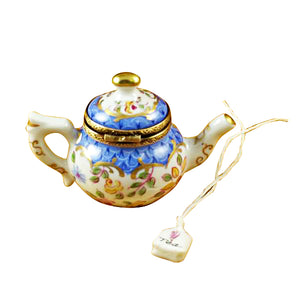 "Rochard ""Teapot Blue Scales with Tea Bag"" Limoges Box"