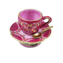 "Load image into Gallery viewer, Rochard ""Valentine's ""LOVE"" Tea Cup with Spoon and Heart Sugar Cube"" Limoges Box"