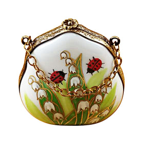 "Rochard ""Lily of the Valley Purse with Ladybugs"" Limoges Box"