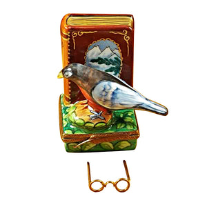 "Rochard ""North American Book of Birds with Removable Glasses"" Limoges Box"