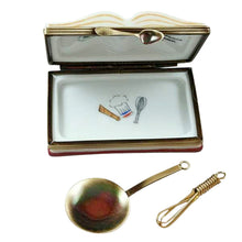 "Load image into Gallery viewer, Rochard ""Crepes Suzettes Cookbook with Whisk and Spoon"" Limoges Box"