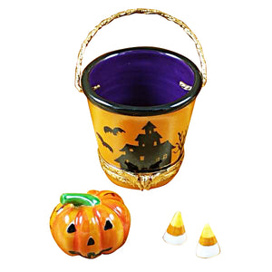 "Rochard ""Halloween Pail with Pumpkin"" Limoges Box"