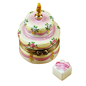 "Rochard ""Two Layer Cake With Removable Porcelain Present"" Limoges Box"