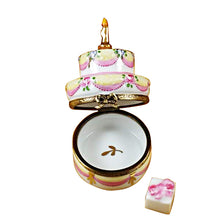 "Load image into Gallery viewer, Rochard ""Two Layer Cake With Removable Porcelain Present"" Limoges Box"