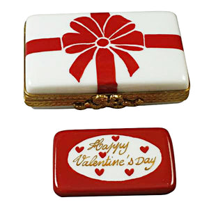"Rochard ""Gift Box with Red Bow - Happy Valentine's Day"" Limoges Box"