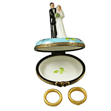 "Load image into Gallery viewer, Rochard ""Bride and Groom with 2 Removable Rings"" Limoges Box"