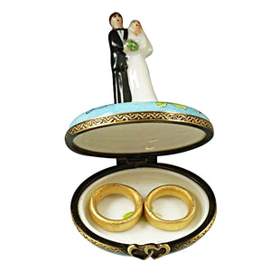 "Rochard ""Bride and Groom with 2 Removable Rings"" Limoges Box"