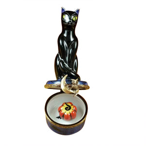 "Rochard ""Black Cat on Night Sky Scene with Removable Pumpkin"" Limoges Box"