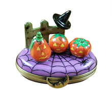 "Load image into Gallery viewer, Rochard ""3 Pumpkin Scene with Witch Hat on Fence"" Limoges Box"