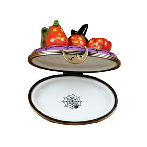 "Rochard ""3 Pumpkin Scene with Witch Hat on Fence"" Limoges Box"