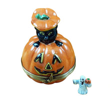 "Load image into Gallery viewer, Rochard ""Black Cat on Jack O Lantern with Removable Ghost"" Limoges Box"