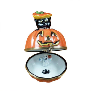 "Rochard ""Black Cat on Jack O Lantern with Removable Ghost"" Limoges Box"