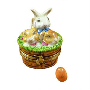 "Rochard ""3 Rabbits in a Basket with Removable Egg"" Limoges Box"