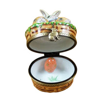 "Load image into Gallery viewer, Rochard ""3 Rabbits in a Basket with Removable Egg"" Limoges Box"