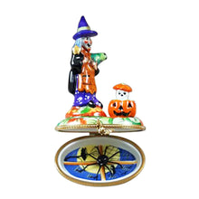"Load image into Gallery viewer, Rochard ""Witch with Pumpkin and Removable Spider"" Limoges Box"