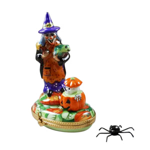 "Rochard ""Witch with Pumpkin and Removable Spider"" Limoges Box"