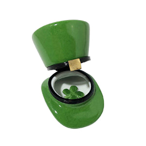 "Rochard ""Leprechaun Hat with a Removable Four Leaf Clover"" Limoges Box"