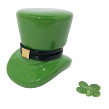 "Load image into Gallery viewer, Rochard ""Leprechaun Hat with a Removable Four Leaf Clover"" Limoges Box"
