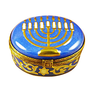 "Rochard ""Menorah - Blue"" Limoges Box"