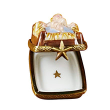 "Load image into Gallery viewer, Rochard ""Eight Piece Mini Hinged Nativity With Porcelain Stable"" Limoges Box"