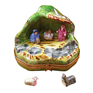 "Rochard ""Nativity with 2 Removable Animals"" Limoges Box"
