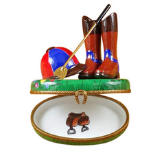 "Load image into Gallery viewer, Rochard ""Riding Set with Hat, Stick & Boots"" Limoges Box"