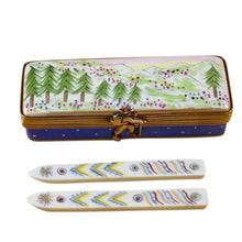 "Load image into Gallery viewer, Rochard ""Ski Box with Skis"" Limoges Box"