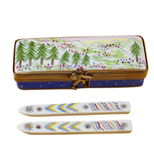 "Rochard ""Ski Box with Skis"" Limoges Box"