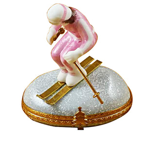 "Rochard ""Woman Skier on Mountain"" Limoges Box"