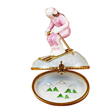 "Load image into Gallery viewer, Rochard ""Woman Skier on Mountain"" Limoges Box"