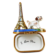 "Load image into Gallery viewer, Rochard ""Eiffel Tower with Jack Russell Terrier"" Limoges Box"