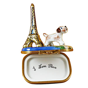 "Rochard ""Eiffel Tower with Jack Russell Terrier"" Limoges Box"