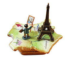 "Load image into Gallery viewer, Rochard ""Map of France with Monet & Eiffel Tower"" Limoges Box"