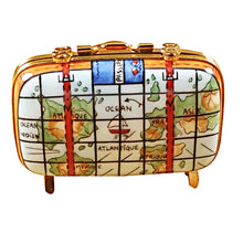 "Load image into Gallery viewer, Rochard ""Suitcase with Maps"" Limoges Box"