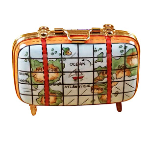 "Rochard ""Suitcase with Maps"" Limoges Box"