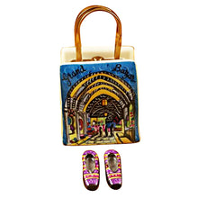 "Load image into Gallery viewer, Rochard ""Istanbul Turkey Shopping Bag with Removable Turkish Slippers"" Limoges Box"
