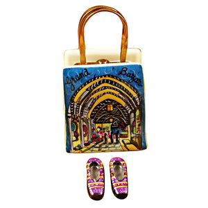 "Rochard ""Istanbul Turkey Shopping Bag with Removable Turkish Slippers"" Limoges Box"