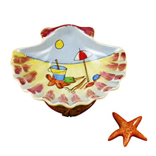 "Load image into Gallery viewer, Rochard ""Seashell Beach Scene with Starfish"" Limoges Box"